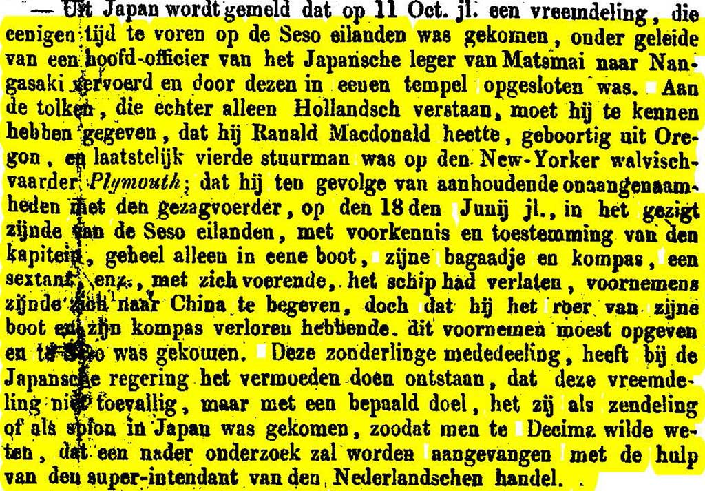 1849-03-23-(MacDonald-reported-in-Nagasaki)Nieuwe-Rotterdamsche-Courant-no-71_Page_1_uitsnede