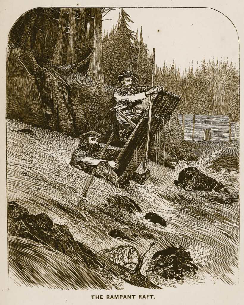 "'On the ""riffles"" it was pure fun, mixed with a dash of danger. The current acting on the stern of our craft with 300 lbs.—MacDonald's weight, as steersman—took it under water several feet, while the bows were elevated in the air. Several times a curious sight might have been witnessed, that of a raft shooting past at the rate of six or eight miles an hour, and, standing nearly upright in the water, a ""raft rampant,"" as it were, with a couple of half-drowned explorers hanging on with comical desperation.' Source: Whymper, Frederick (1869) Travel and adventure in the territory of Alaska. New York: Harper & brothers p. 69 https://archive.org/details/traveladventu00whym"